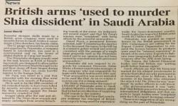 """صحيفة """"تايمز"""": أسلحة بريطانية استُخدِمت لتصفية معارض شيعي في السعودية"""