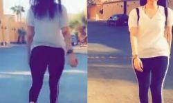فتاة تخلع العباءة وتتجول بملابس فاضحة في شوارع الرياض