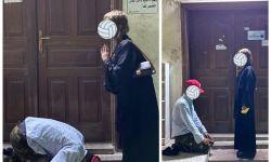 """آخر انفتاحات بن سلمان.. """"شخص يسجد لفتاة"""" بمملكة آل سعود.. وغضب يجتاح مواقع التواصل"""